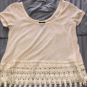 Cream Forever 21 Lace Crop Top